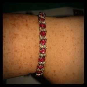 Jewelry - Sterling silver and Ruby tennis bracelet